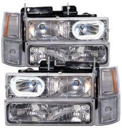 details about headlights chrome halo w xenons 8pc fits 94 95 96 97 98 chevrolet suburban [ 1600 x 1600 Pixel ]